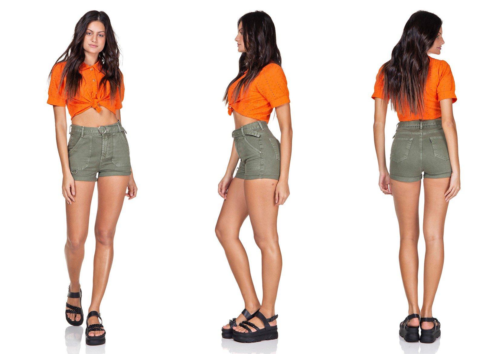 dz6361 shorts jeans setentinha bolso sobreposto verde militar denim zero trio