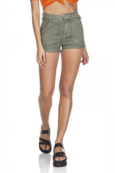 dz6361 shorts jeans setentinha bolso sobreposto verde militar denim zero frente prox