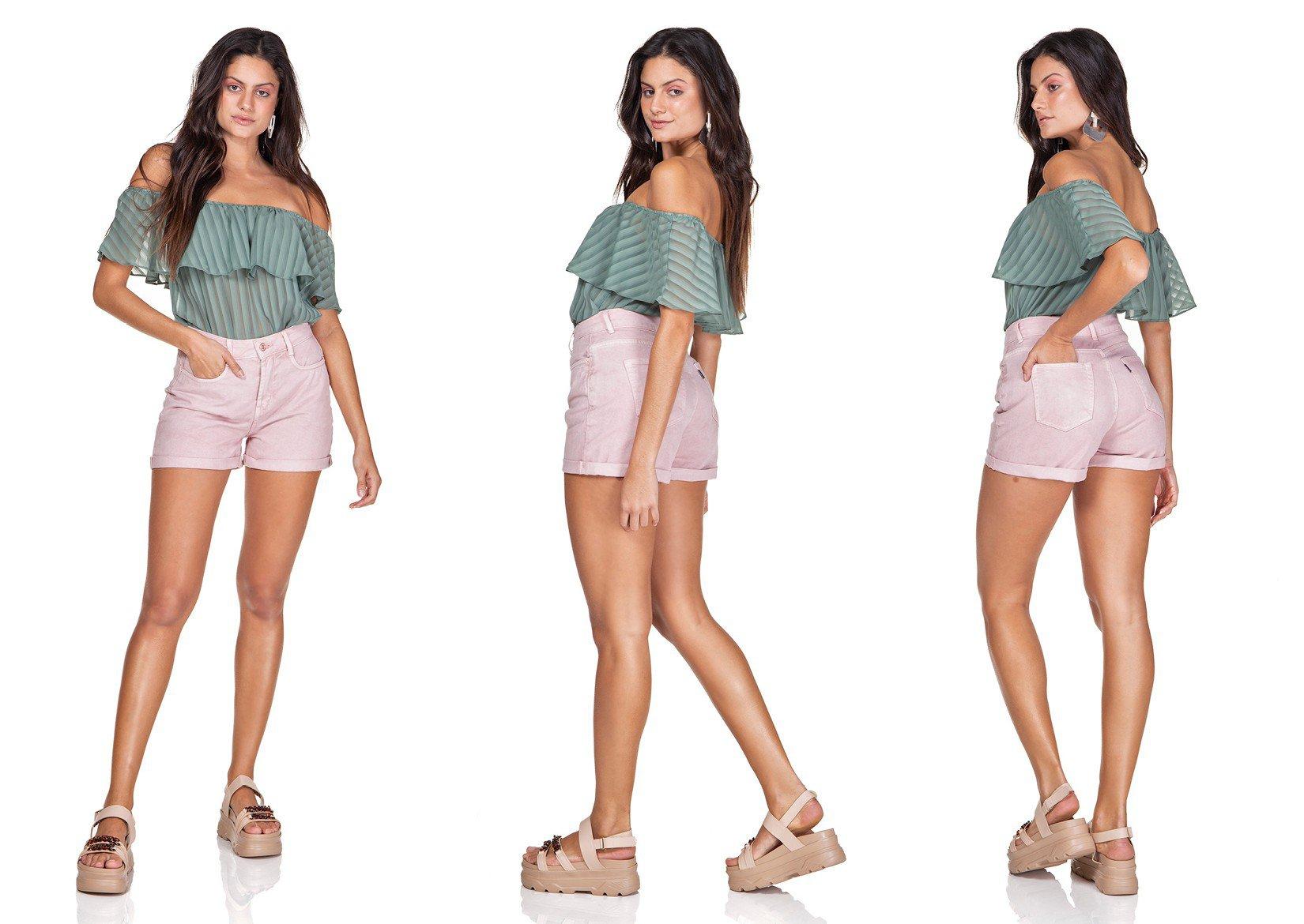 dz6362 shorts jeans mom barra dobrada old roset denim zero trio