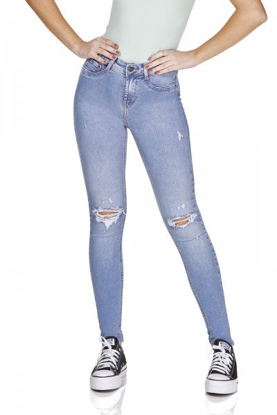 dz3191 calca jeans skinny media rasgo joelho denim zero frente prox
