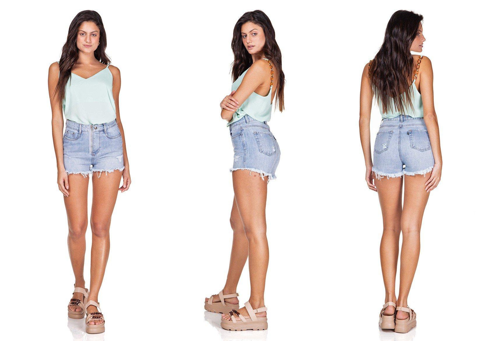 dz6331 shorts jeans setentinha com ziper denim zero trio