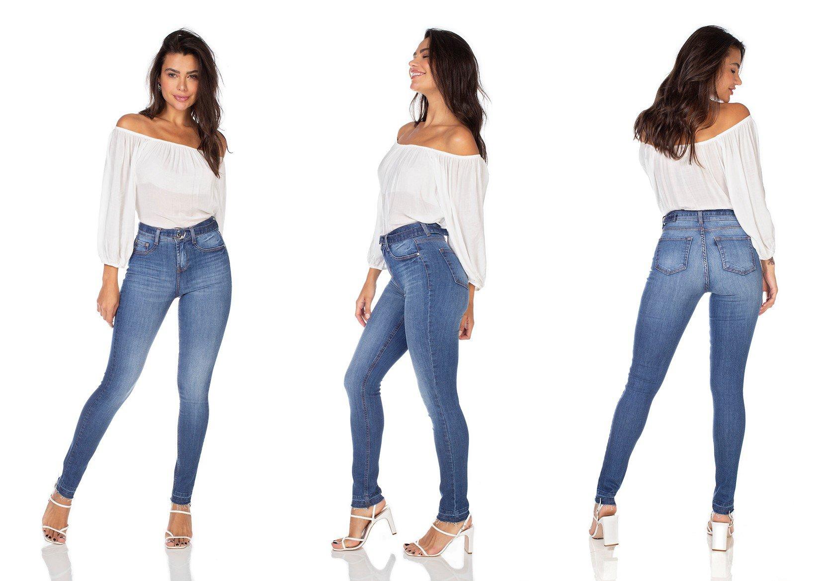 dz3214 calca jeans feminina skinny media com cinto removivel denim zero tripla