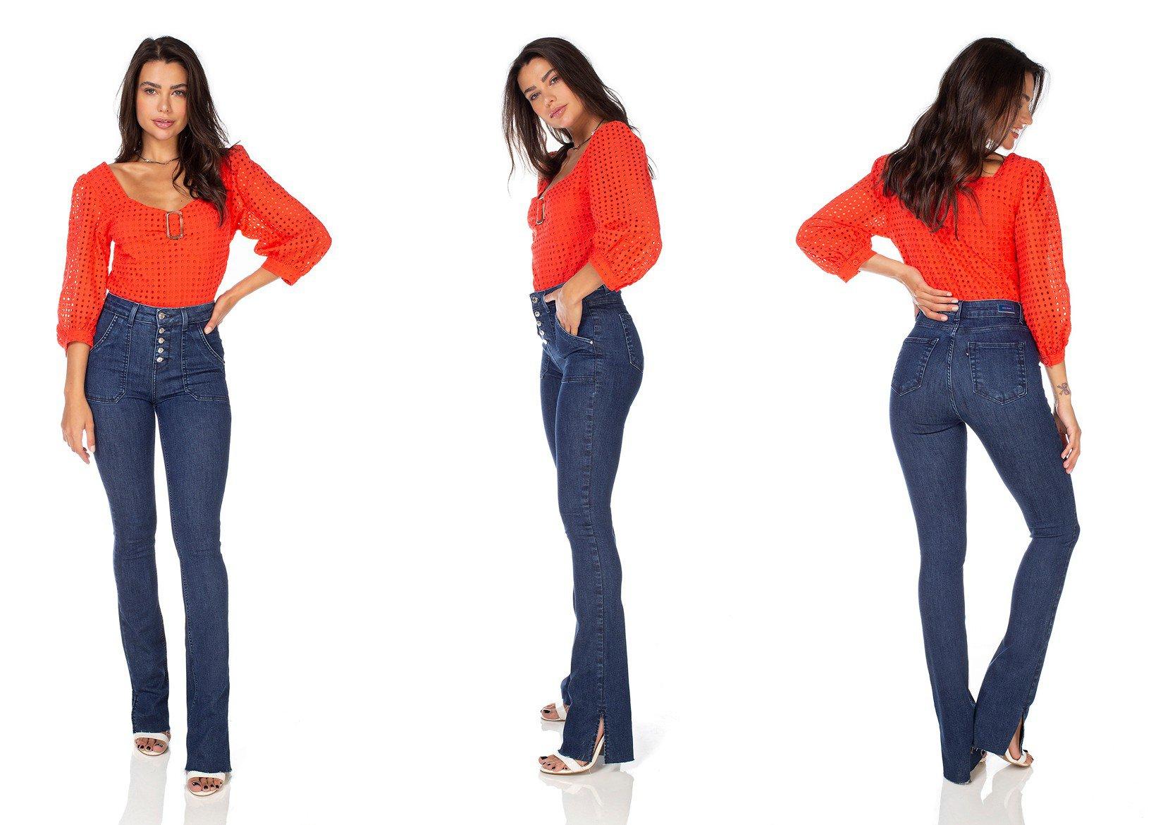 dz3230 calca jeans feminia new boot cut bolsos sobrepostos denim zero tripla