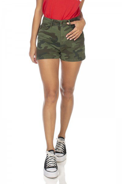 dz6354 shorts jeans feminino pin up camuflado denim zero frente prox