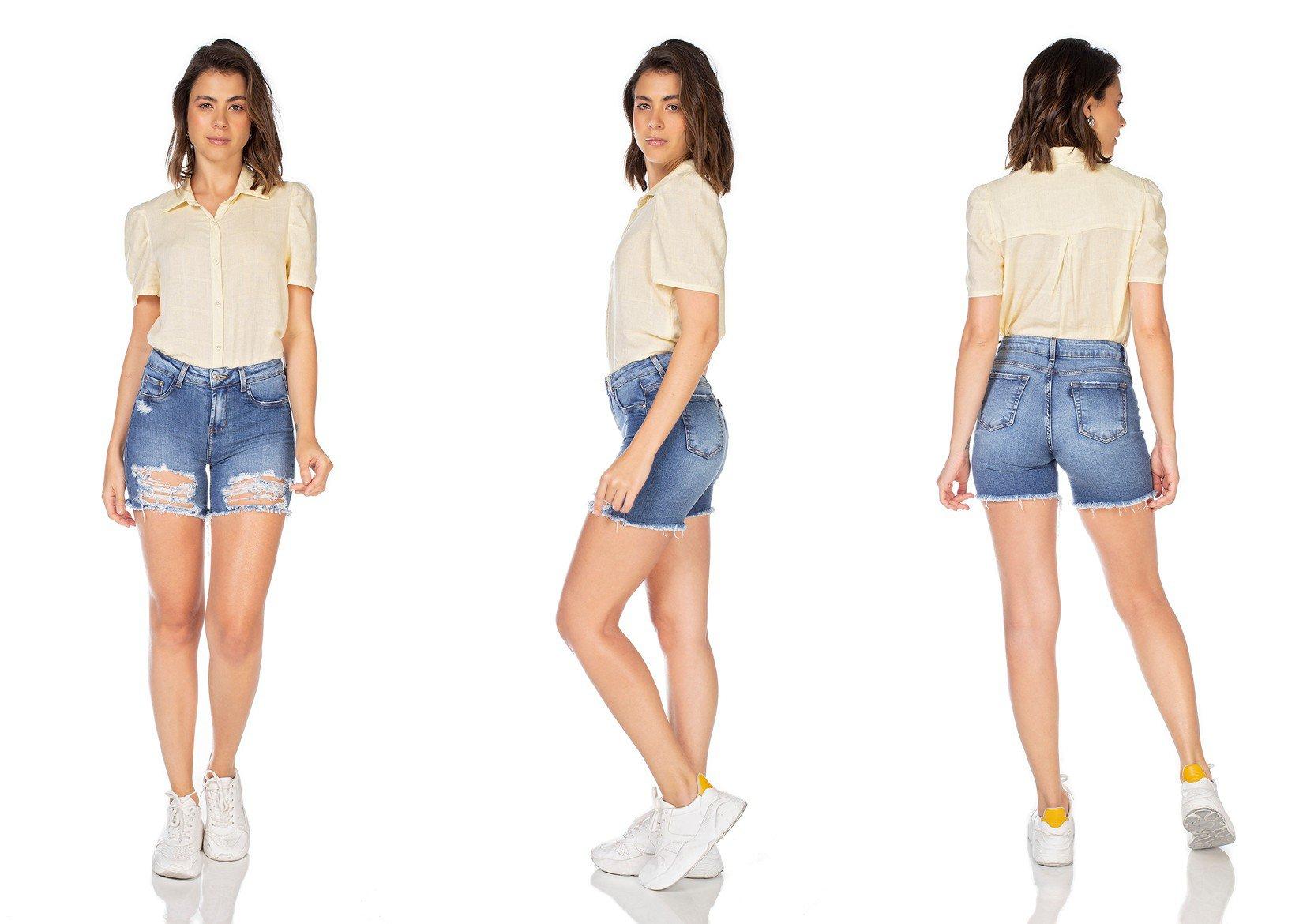 dz4035 bermuda jeans feminina slim destroyed denim zero tripla