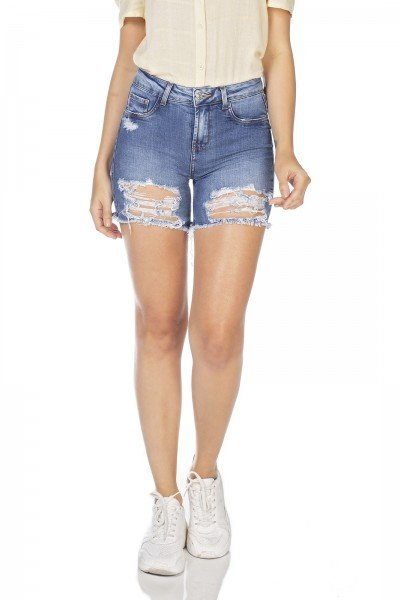 dz4035 bermuda jeans feminina slim destroyed denim zero frente prox