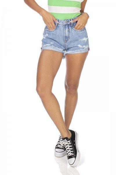 dz6340 shorts jeans feminino setentinha com puidos denim zero frente prox