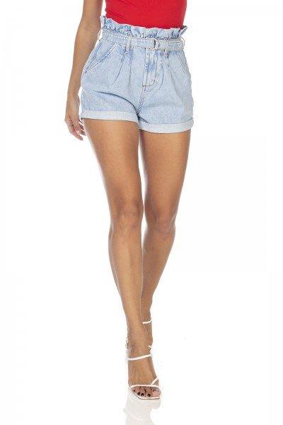 dz6348 shorts jeans feminino setentinha clochard com cinto denim zero frente prox