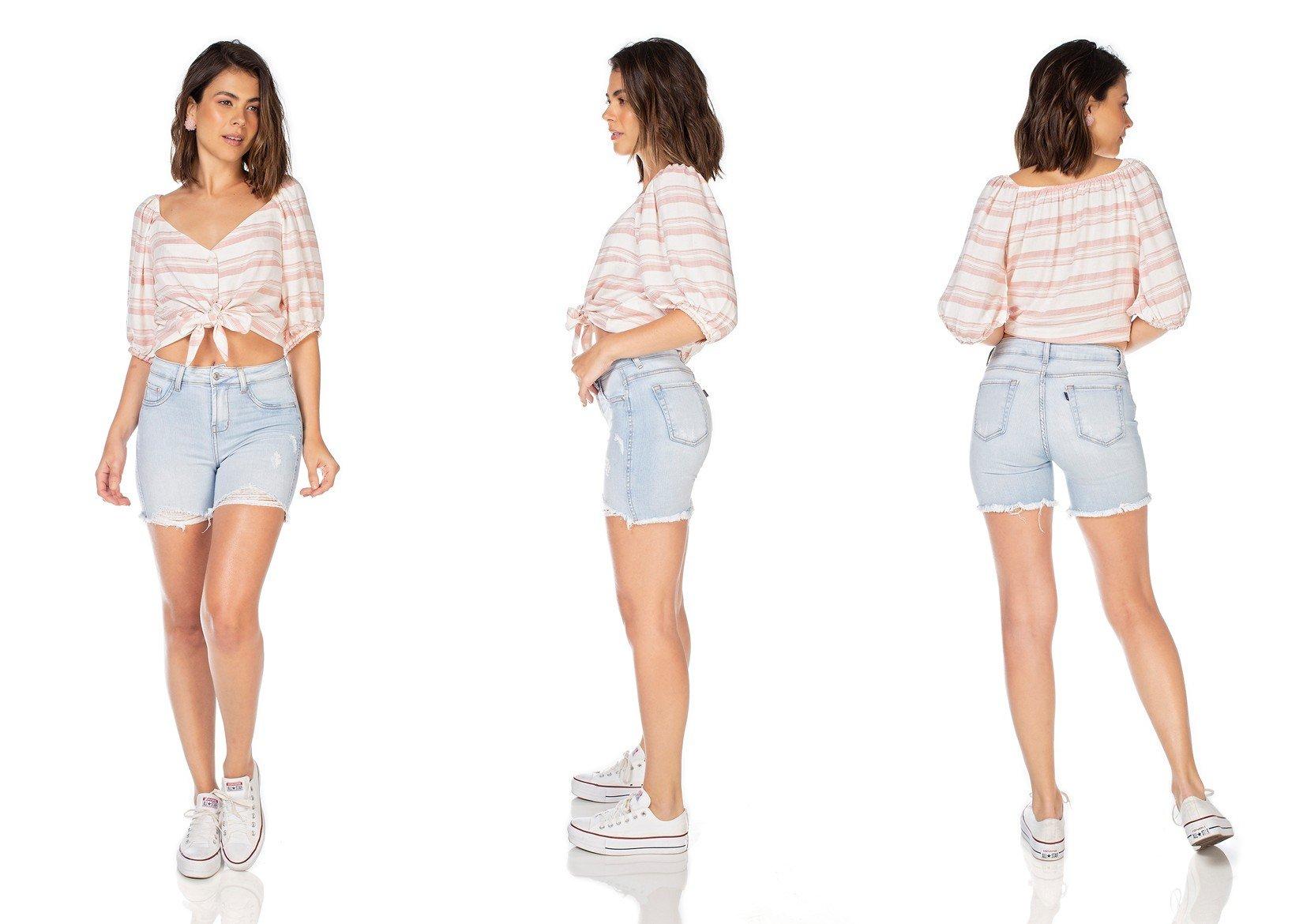 dz4034 bermuda jeans feminina slim com puidos denim zero tripla