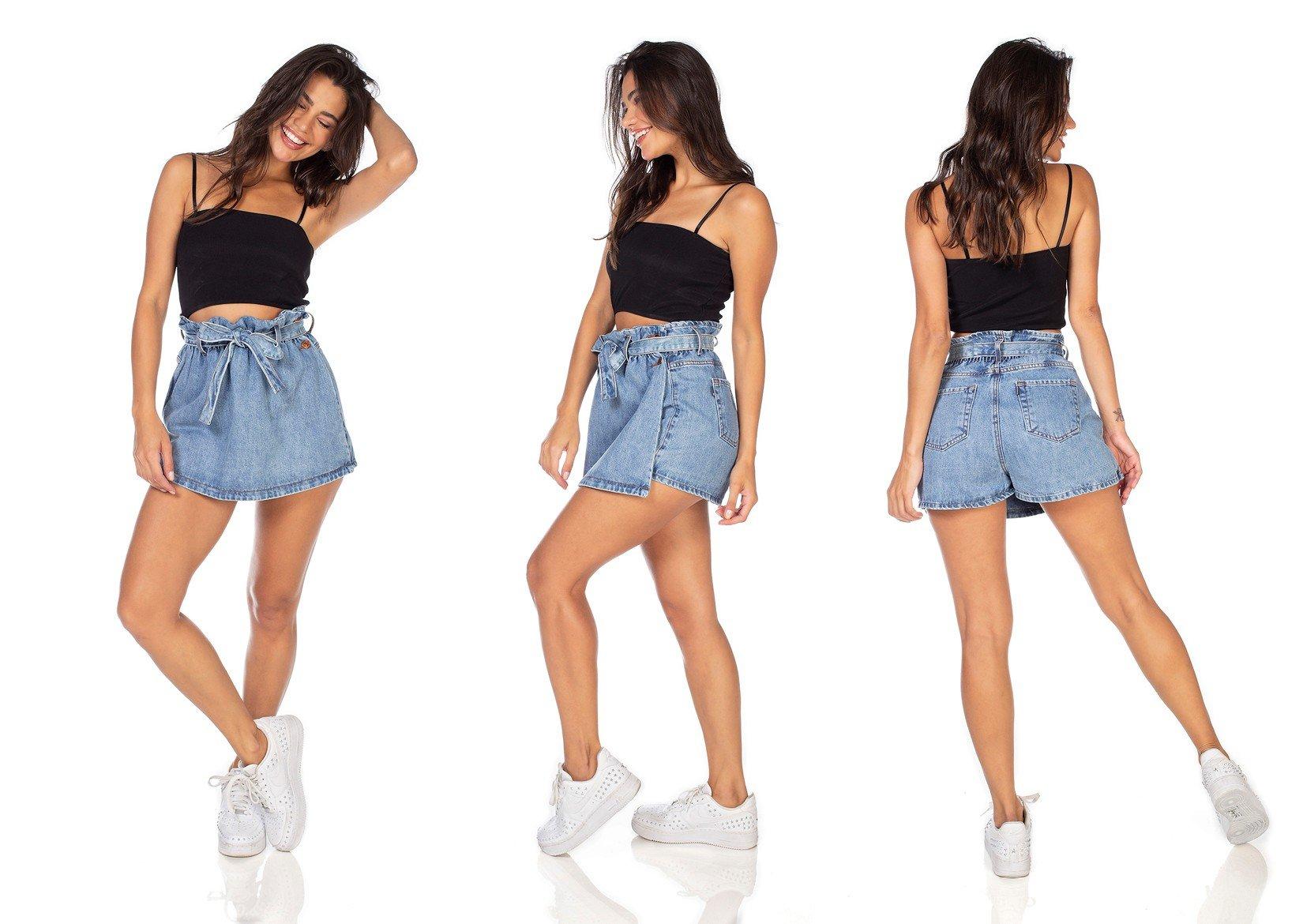 dz6359 shorts saia jeans feminino clochard com cinto dnim zero tripla
