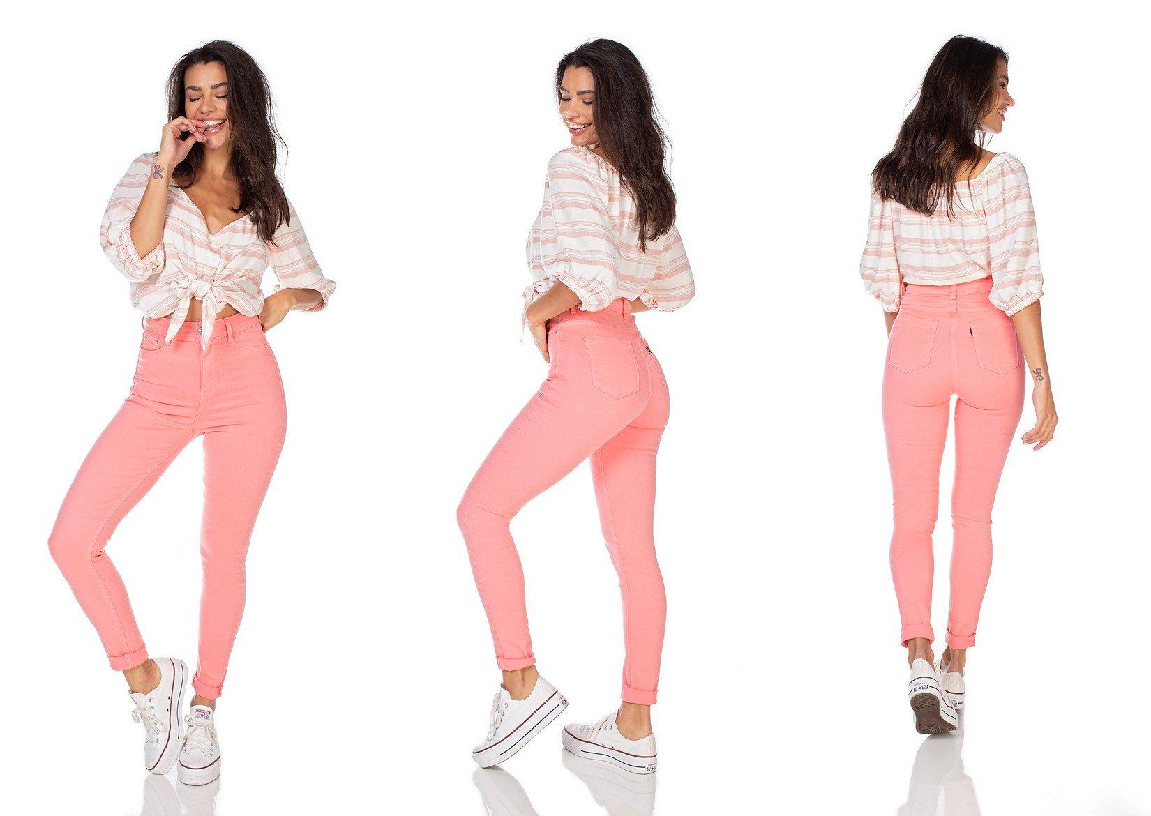 dz2528 13 calca jeans feminina skinny hot pants goiaba denim zero tripla