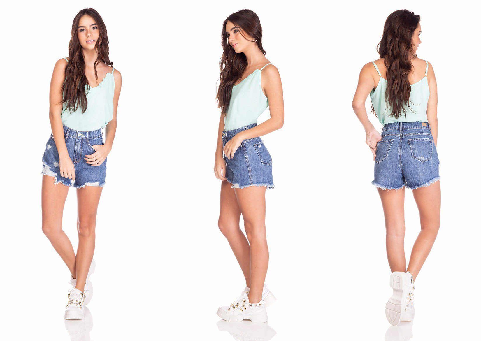 dz6375 shorts jeans feminino setentinha com puidos denim zero tripla