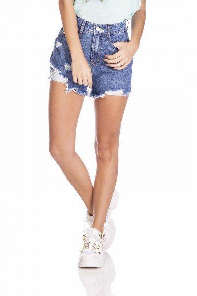dz6375 shorts jeans feminino setentinha com puidos denim zero frente prox