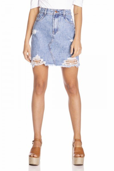 dz7126 saia jeans feminina regular destroyed denim zero frente prox