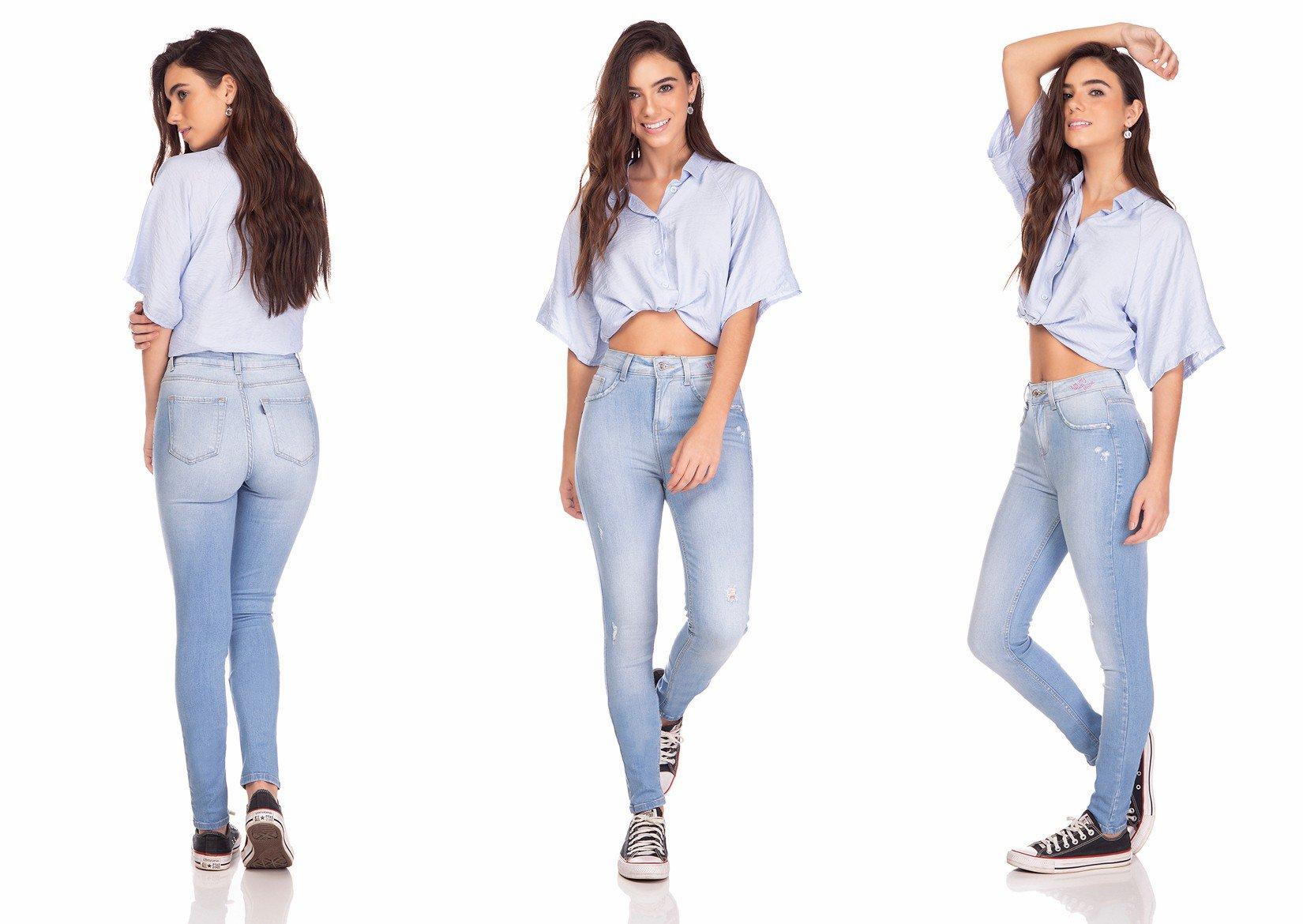 dz3253 calca jeans feminina skinny media com estampa denim zero tripla