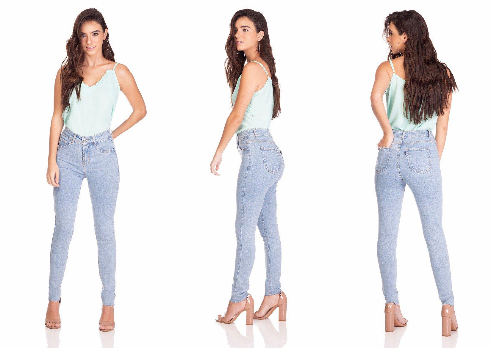 dz3255 calca jeans feminina skinny media cigarrete denim zero tripla