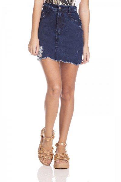 dz7129 saia jeans feminina tubinho estampa neon denim zero frente prox