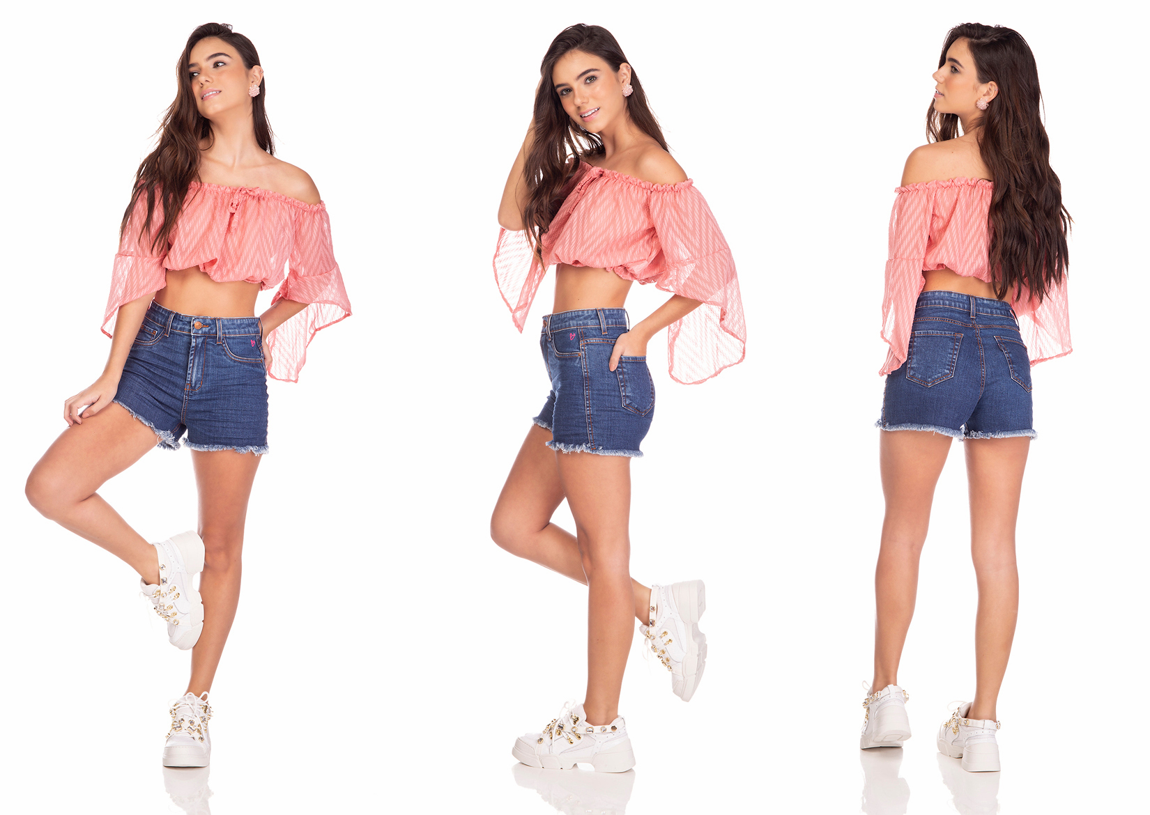 dz6378 shorts jeans feminino pin up estampa rosa neon denim zero tripla