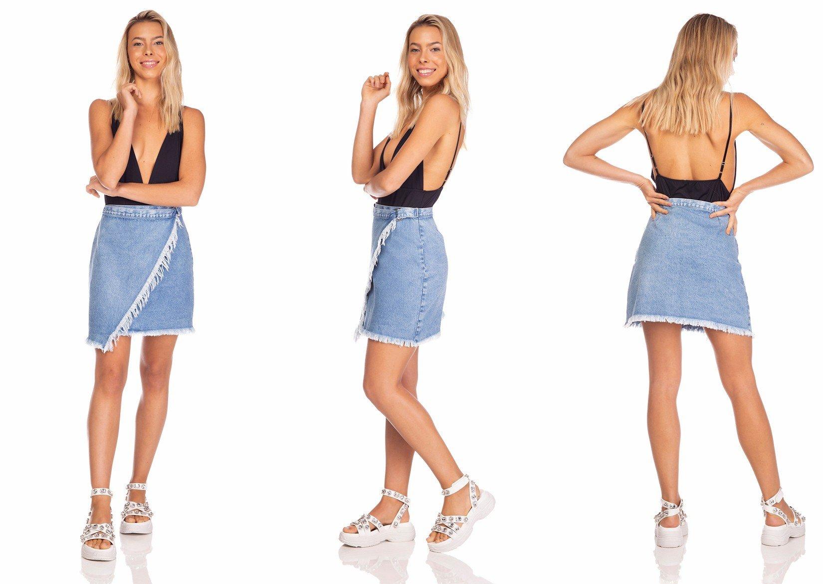 dz7127 saia jeans feminina envolope com regulagem denim zero tripla