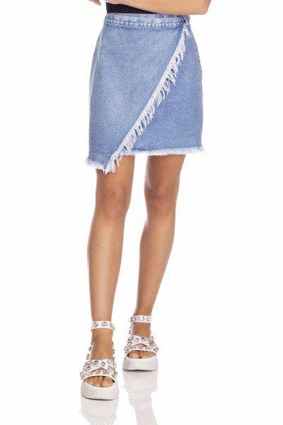 dz7127 saia jeans feminina envolope com regulagem denim zero frente prox