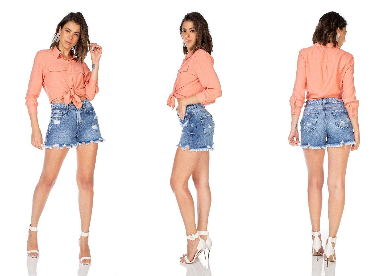 dz6347 shorts jeans feminino mom barra irregular denim zero tripla