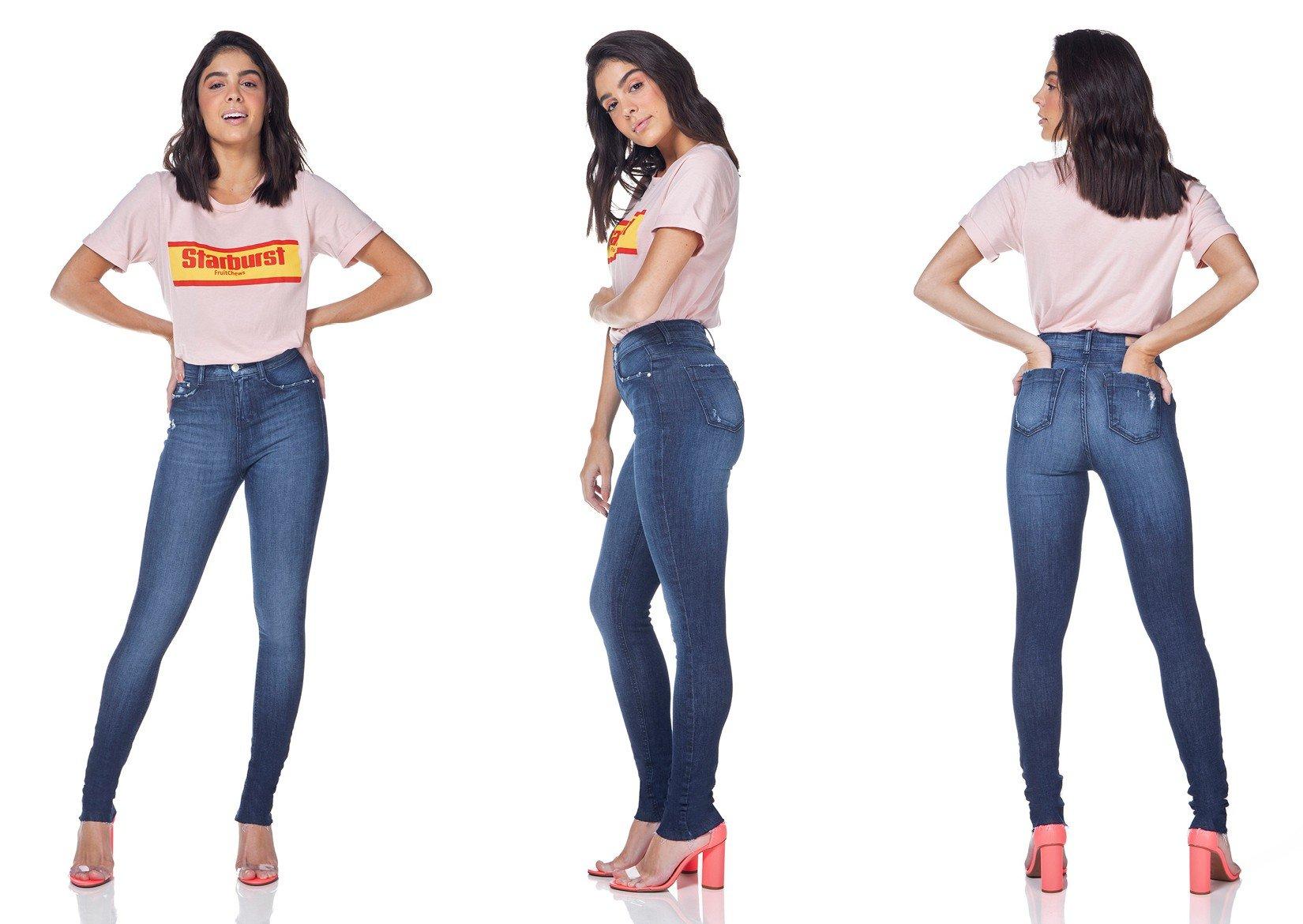 dz3097 calca jeans skinny media com puidos denim zero tripla