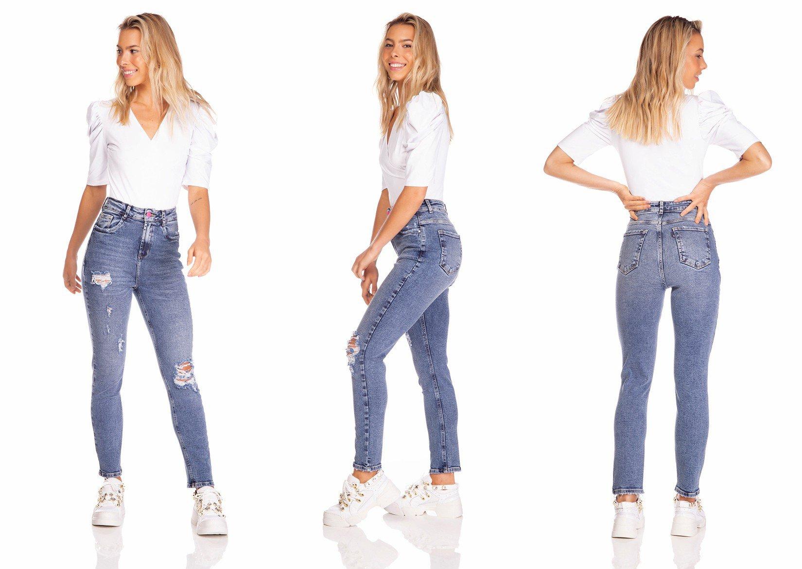 dz3232 calca jeans feminina mom fit vintage com puidos denim zero tripla