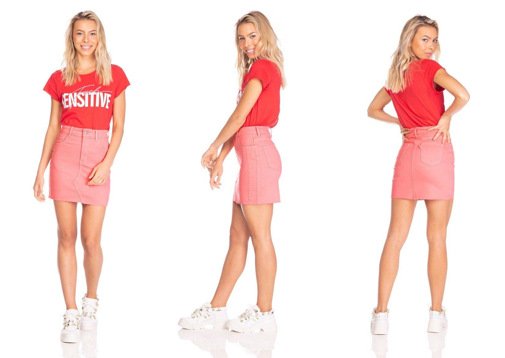 dz7102 saia jeans feminina tubinho recorte frontal goiaba denim zero tripla