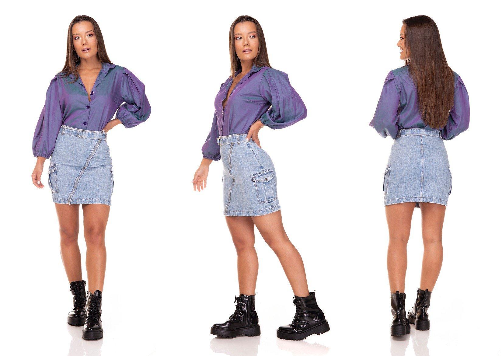 dz7128 saia jeans regular com bolsos laterais denim zero tripla
