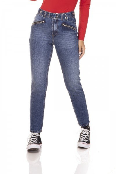 dz3259 calca jeans mom com ziper frontal denim zero frente prox