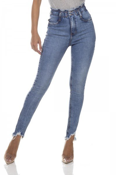 dz3286 calca jeans feminina skinny media cigarrete elastico no cos denim zero frente prox