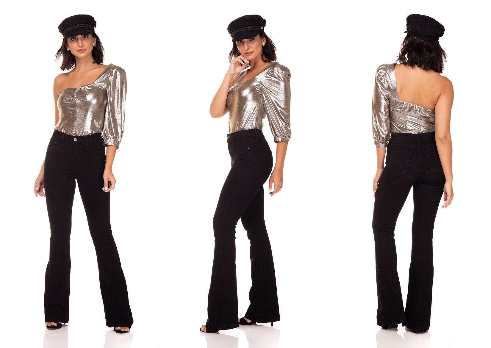 dz3307 calca jeans flare media black and white preto denim zero tripla