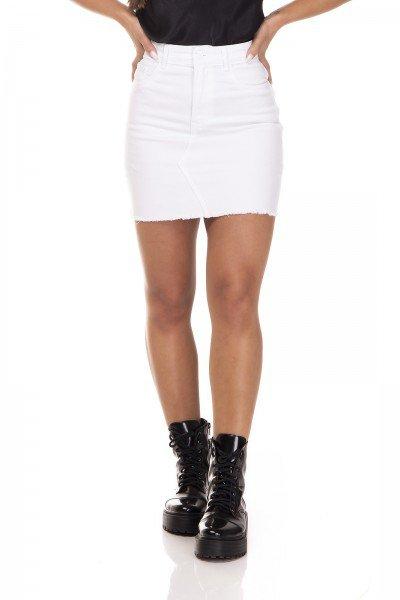 dz7137 saia jeans tubinho barra desfiada black and white branco denim zero frente prox