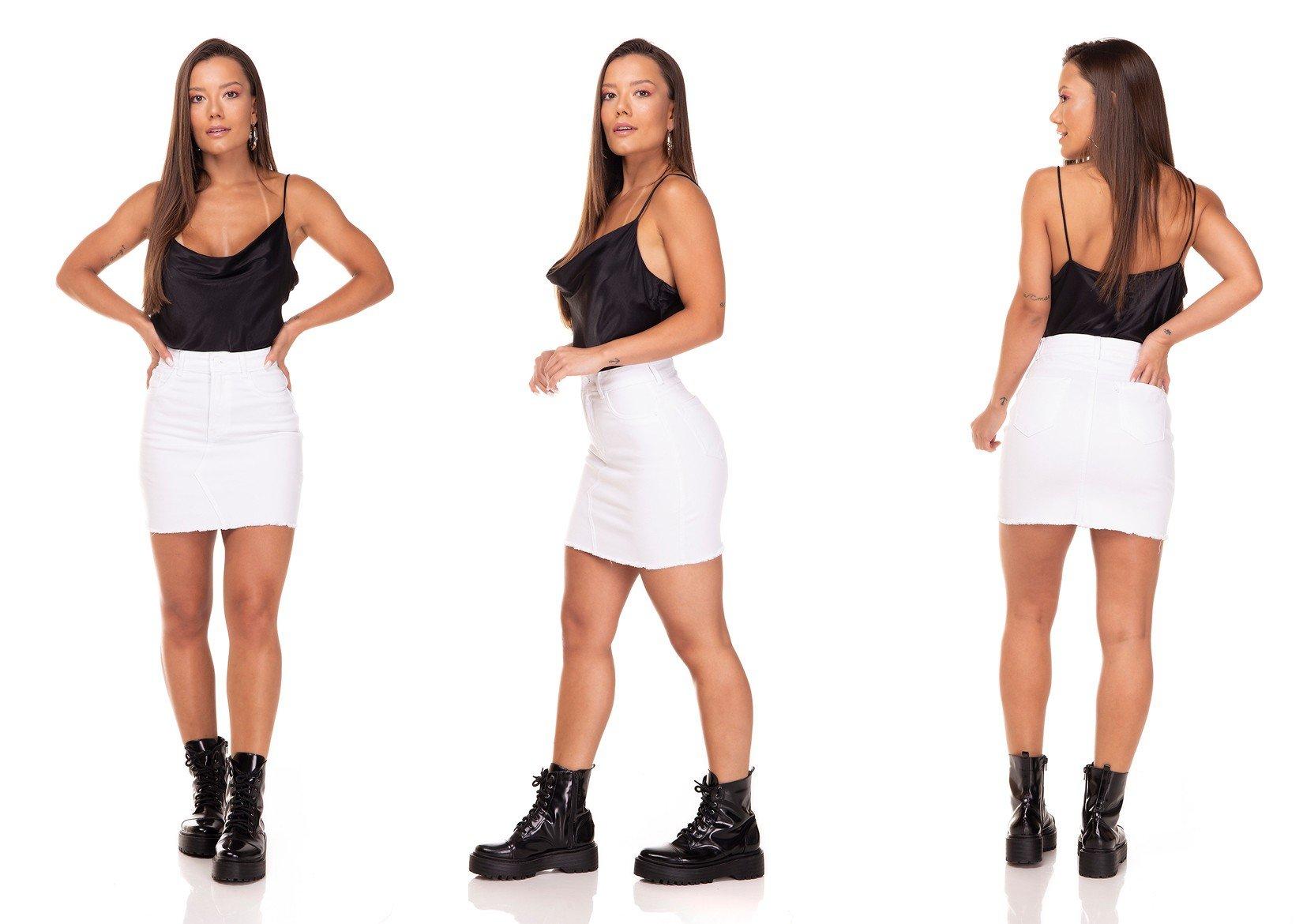 dz7137 saia jeans tubinho barra desfiada black and white branco denim zero tripla
