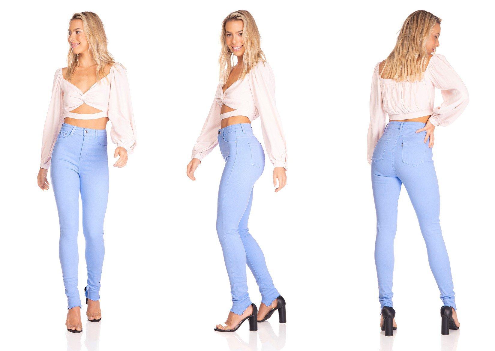 dz3127 calca jeans feminina hot pants barra desfiada colorida sky denim zero tripla