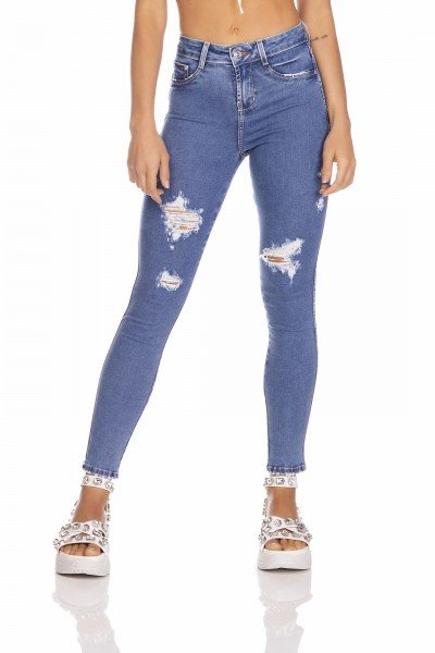 dz3254 calca jeans feminina skinny media cigarrete com puidos denim zero frente prox