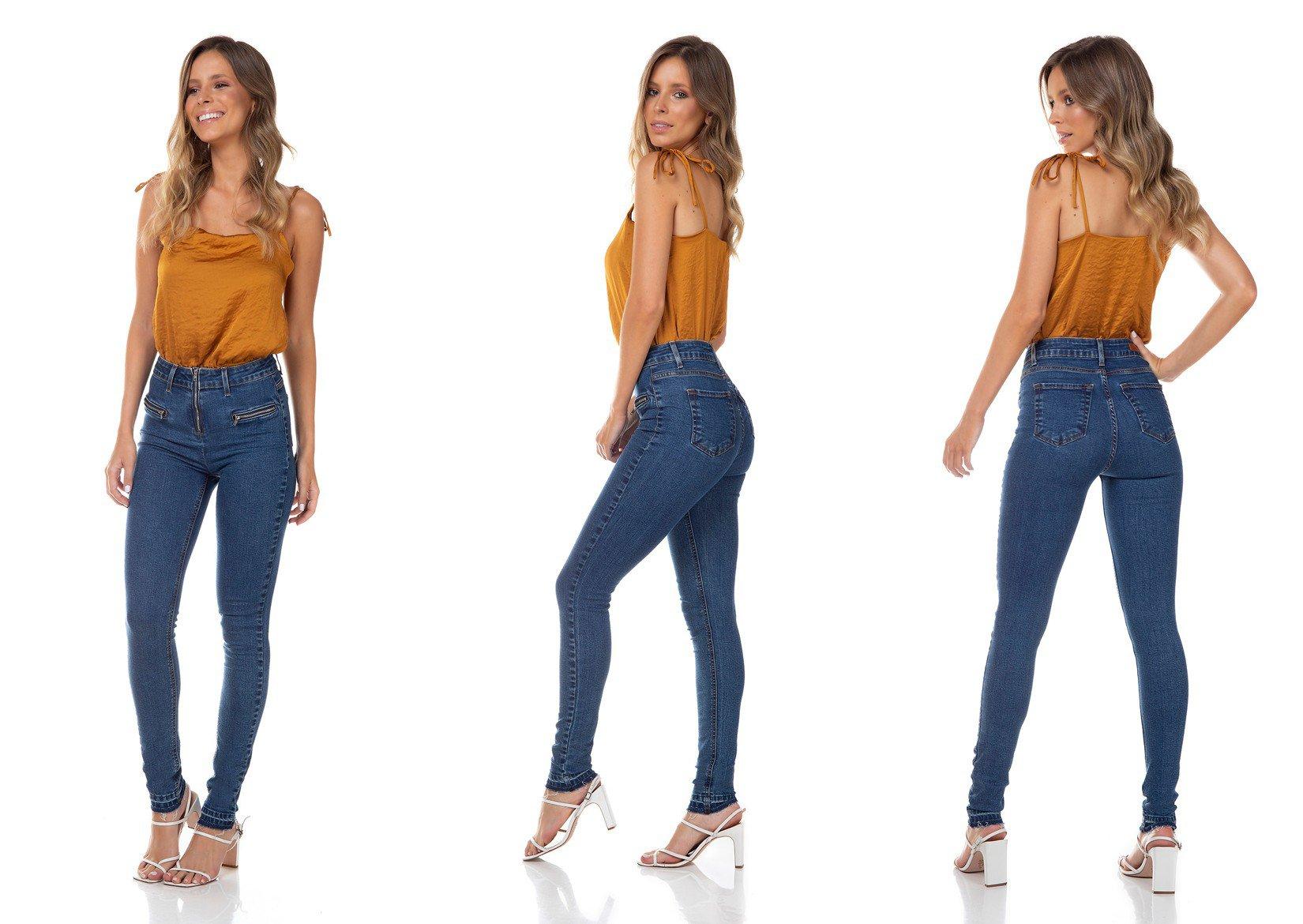 dz3344 calca jeans feminina skinny media fechamento com ziper denim zero tripla