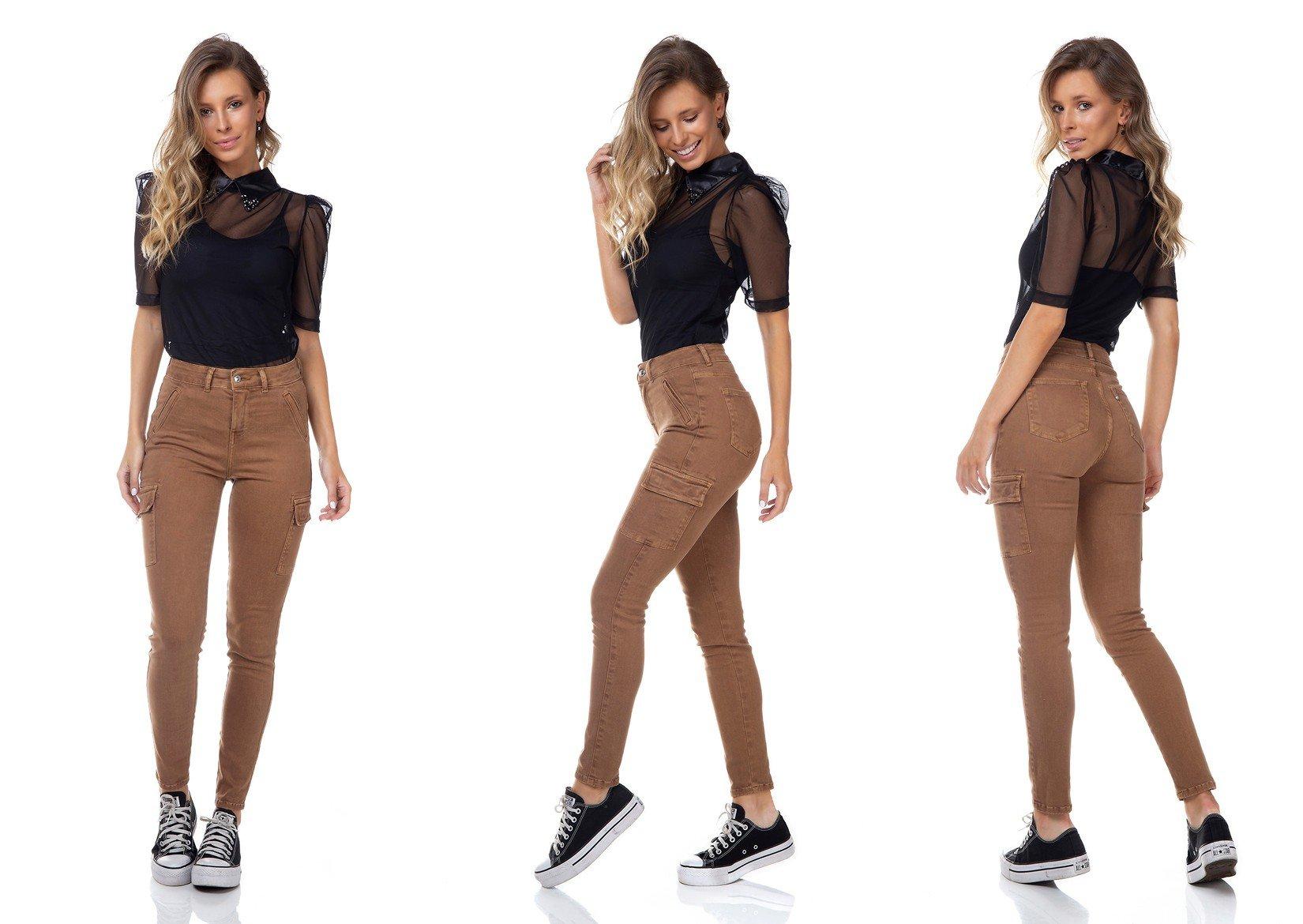 dz3345 calca jeans feminina skinny media cigarrete bolsos laterais denim zero tripla