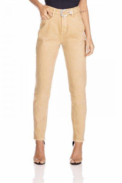 dz3280 calca jeans feminina mom com cinto denim zero frente prox