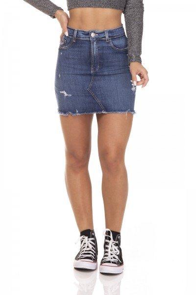 dz7130 saia jeans feminina tubinho recorte frontal denim zero frente prox