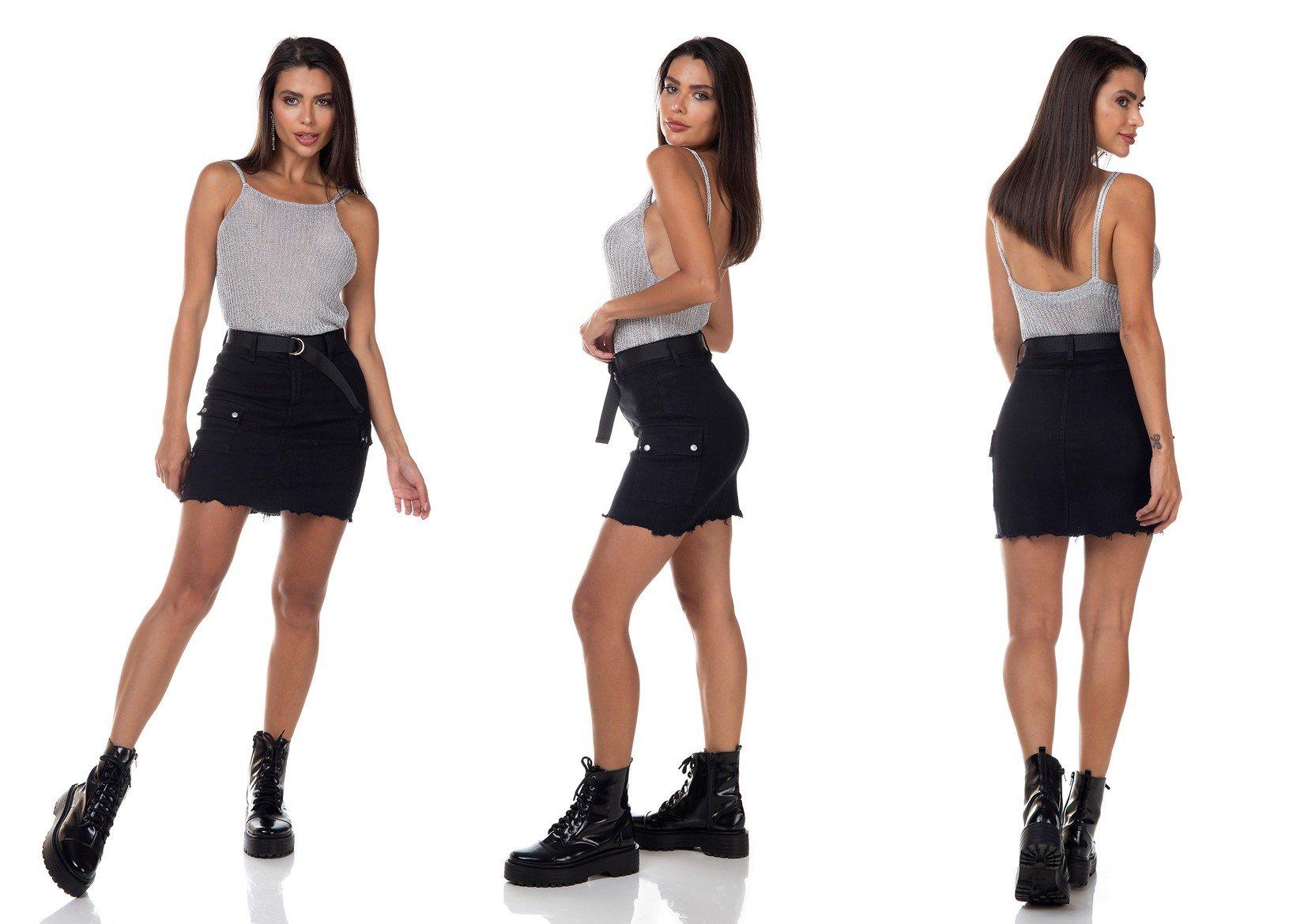 dz7139 saia jeans feminina tubinho bolsos laterais denim zero tripla
