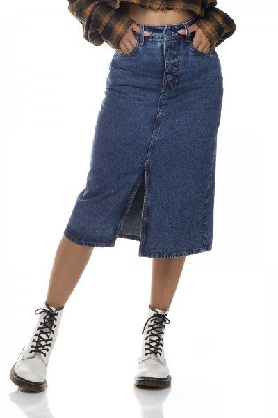 dz7141 saia jeans feminina lapis com botoes denim zero frente prox