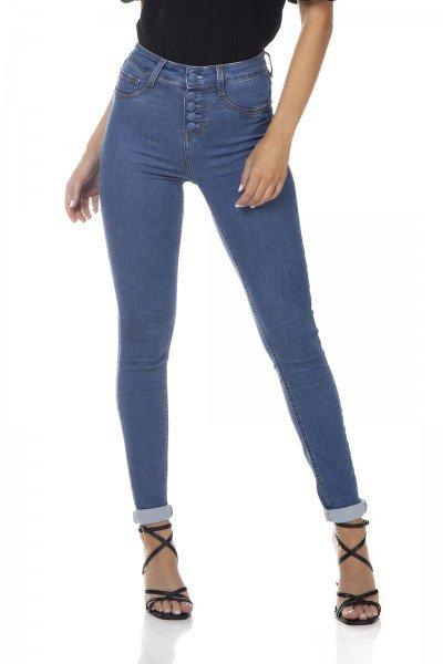 dz3310 calca jeans feminina skinny media com botoes denim zero frente prox