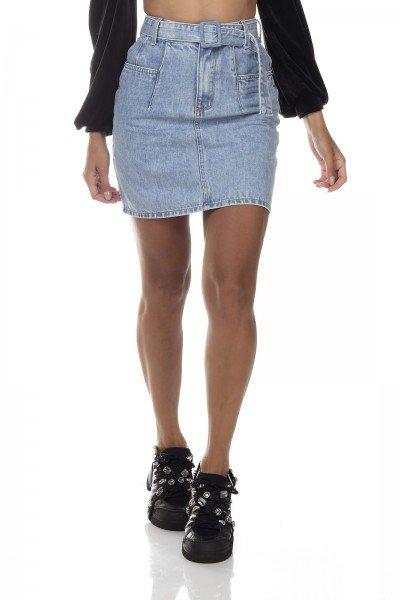 dz7140 saia jeans feminina regular bolso diferenciado denim zero frente prox