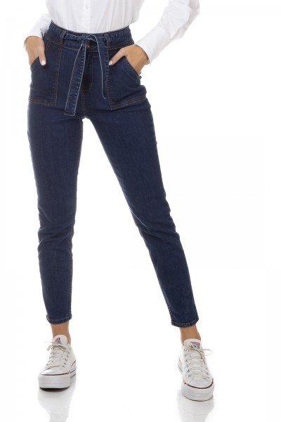 dz3326 calca jeans feminina mom fit com cinto denim zero frente prox