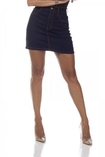 dz7138 saia jeans feminina tubinho tradicional denim zero frente prox