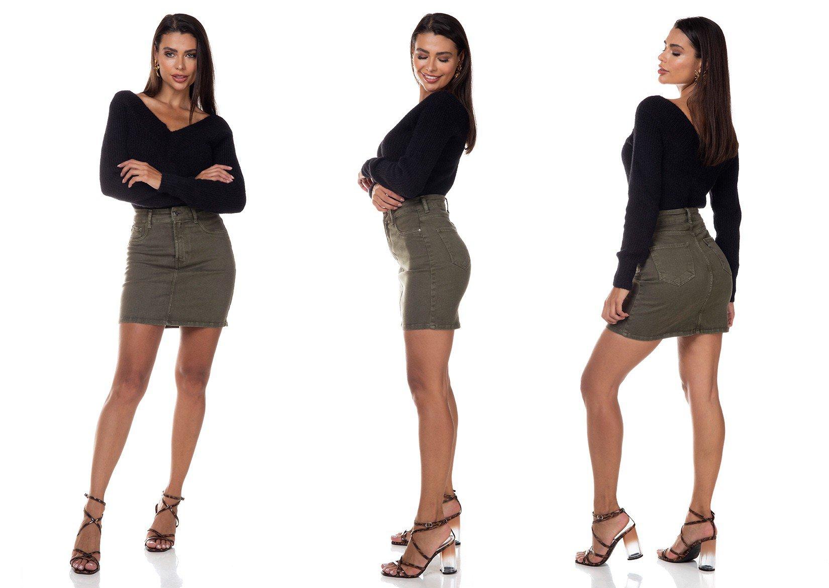 dz7143 saia jeans feminina tubinho colorida denim zero verde militar tripla