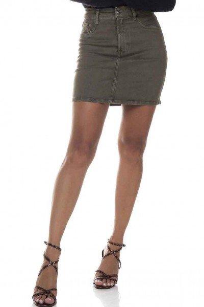 dz7143 saia jeans feminina tubinho colorida denim zero verde militar frente prox