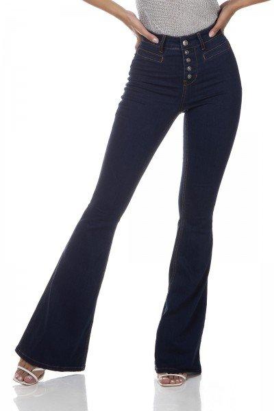 dz3322 calca jeans feminina flare media bolso embutido denim zero frente prox
