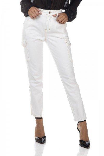 dz3329 calca jeans feminina mom com bolsos laterais denim zero frente prox